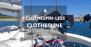 Tired of losing clothes and clothespins? Try this easy DIY boat (or RV) clothesline that works better the more the wind blows.