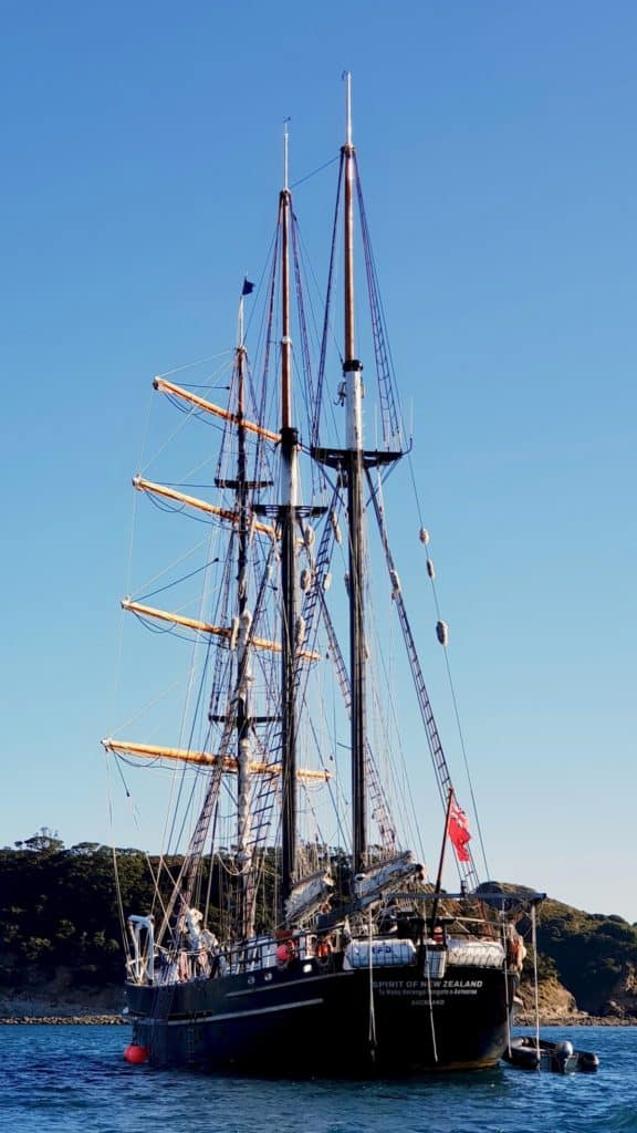 Three masted ship, The Spirit of New Zealand.