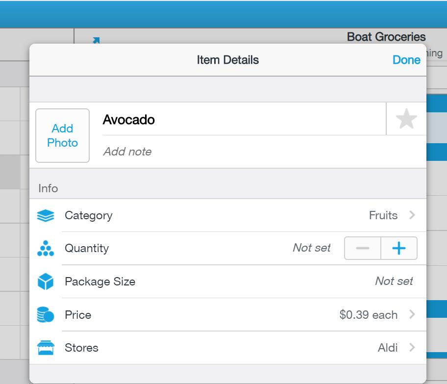 AnyList App - Details on a list
