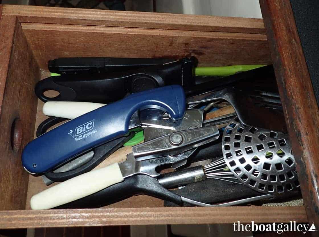 Kitchen utensils in drawer